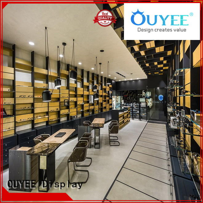 eyewear wood layout optical eyeglass display stand OUYEE Brand