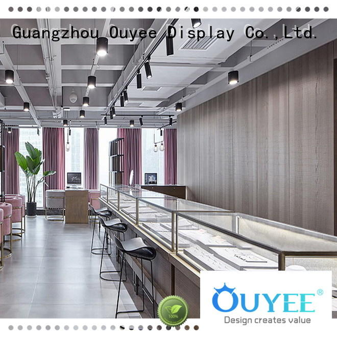 OUYEE chic style glass display case with lights vendor for wholesale