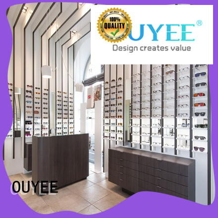 OUYEE popular glass tower display case high quality for chain shop