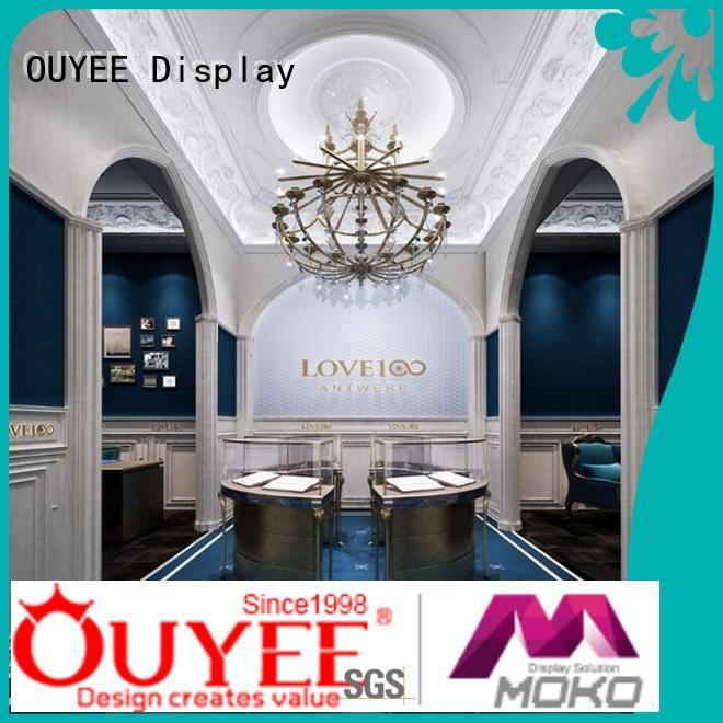 jewellery shop showcase design retail latest cabinet OUYEE Brand jewellery shop design