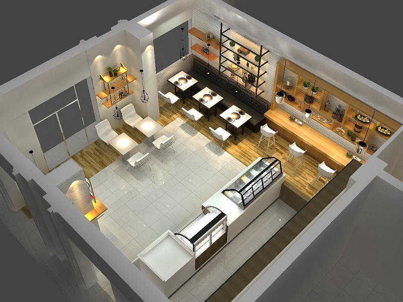 Cafe Shop Interior Design  OY-CSD009