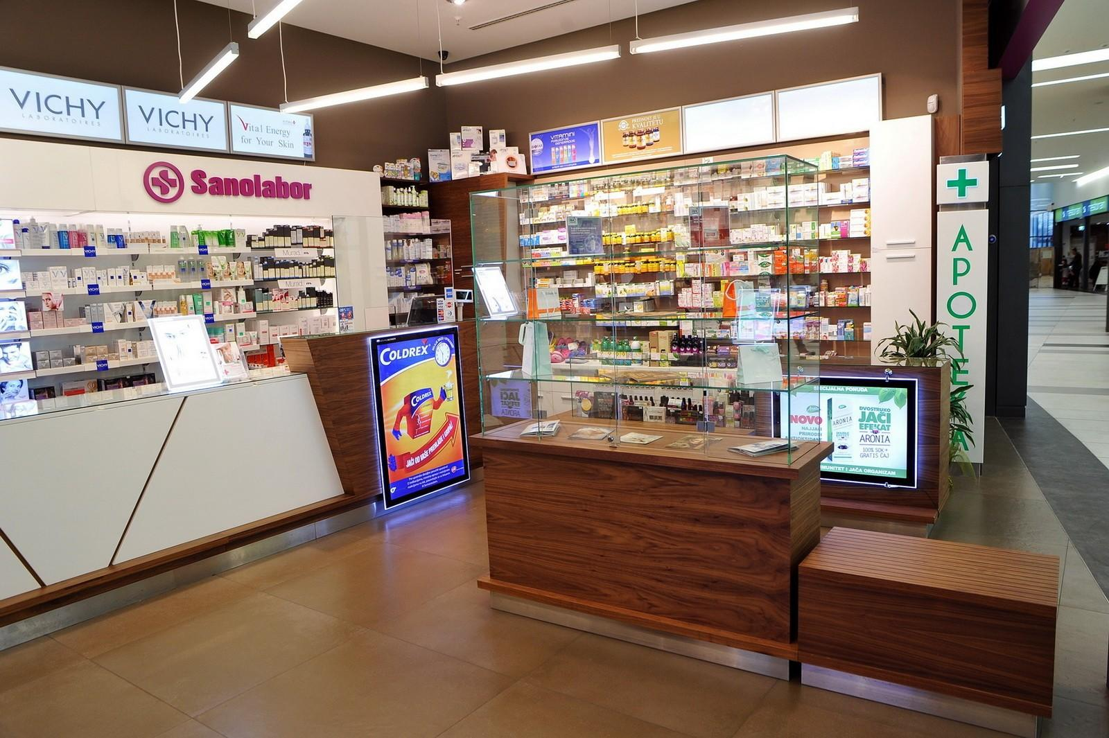 OUYEE Brand retail interior shelving pharmacy counter manufacture