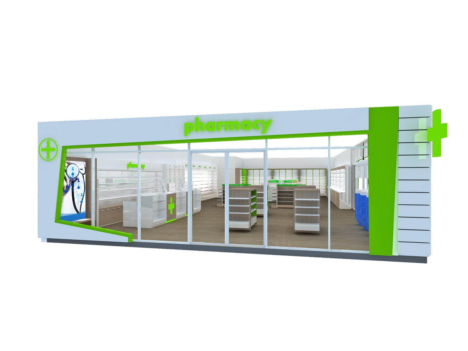 OUYEE Brand design furniture units pharmacy counter manufacture