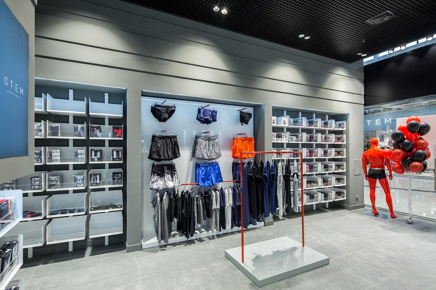 showroom garments stand clothing shelves commercial OUYEE