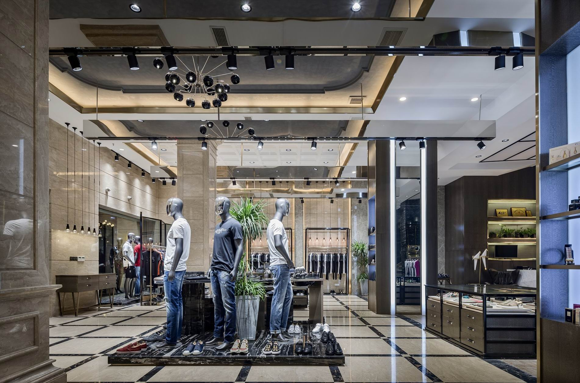 OUYEE free delivery tailoring shop interior design at discount underwear display-6