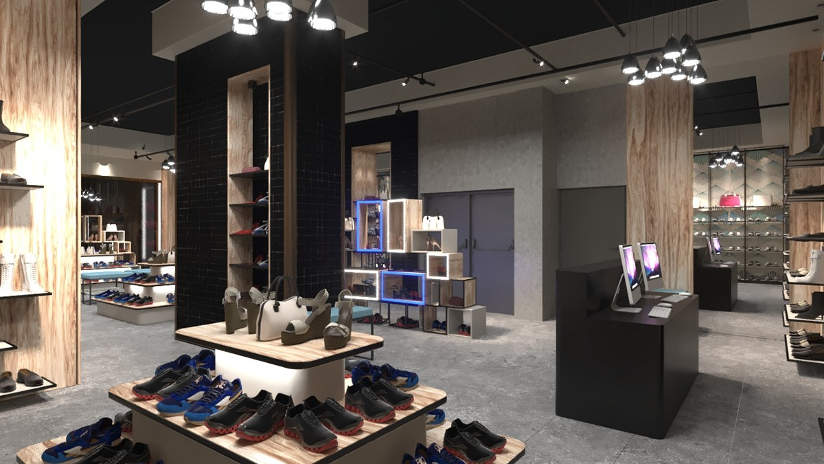 chic shoe display wall commercial for chain shop OUYEE-4