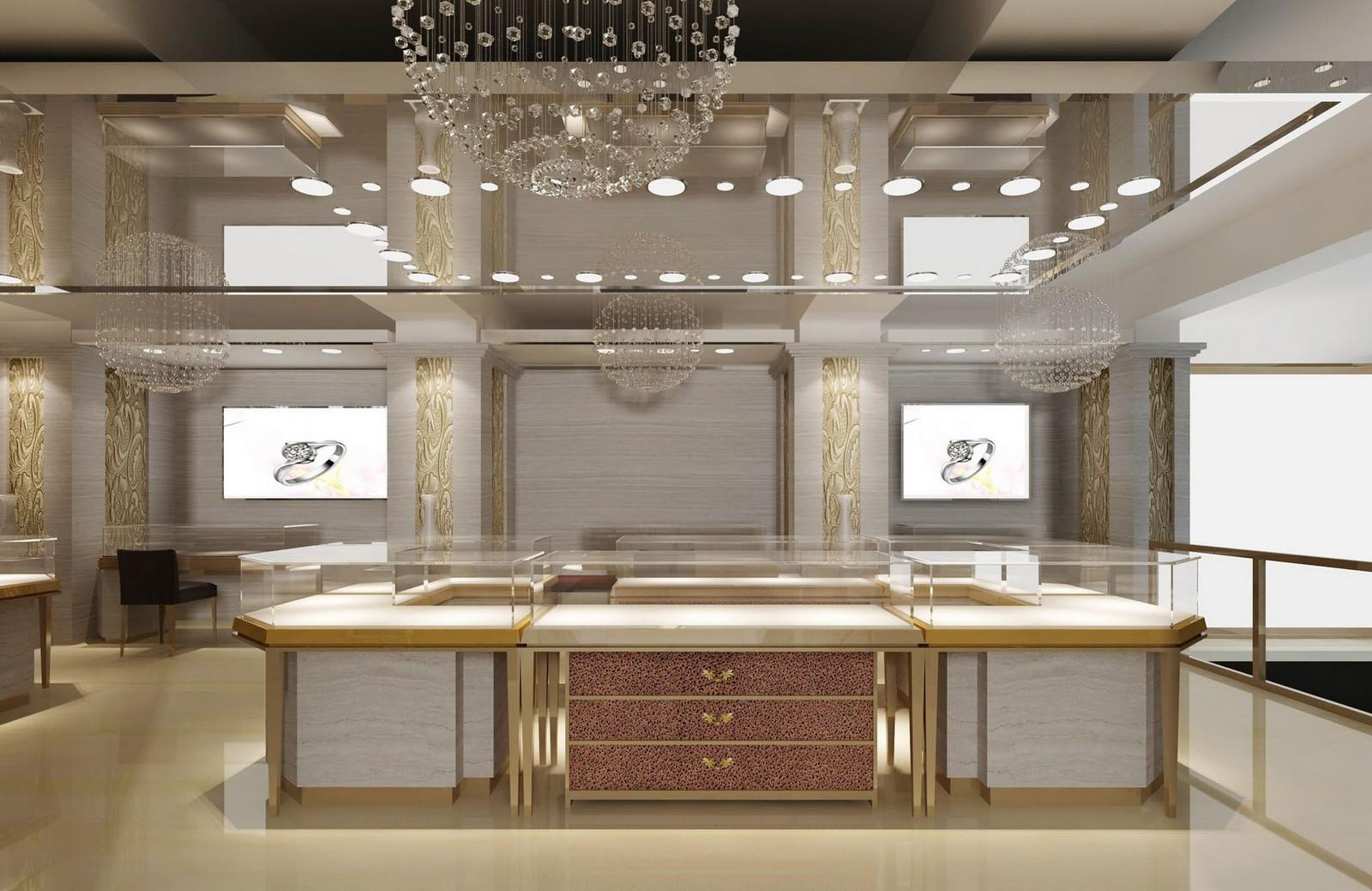 jewellery shop showcase design latest for store OUYEE