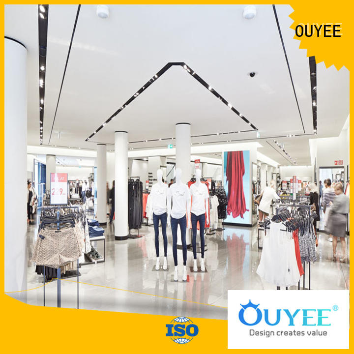 cabinet rack decoration OUYEE Brand boutique clothing display racks factory