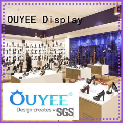 Wholesale boutique interior wooden shoe rack designs OUYEE Brand