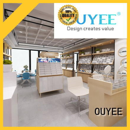 OUYEE wooden sunglasses display kiosk at discount for shop