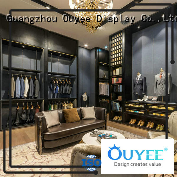 boutique clothing display racks ladies store OUYEE Brand clothing shelves