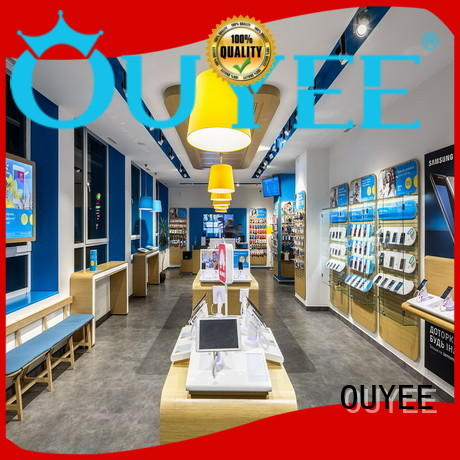 wooden mobile counter showcase for electronics OUYEE