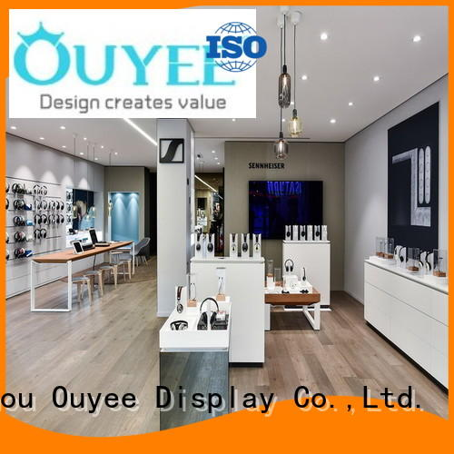OUYEE plywood electronic shop display fast delivery for store