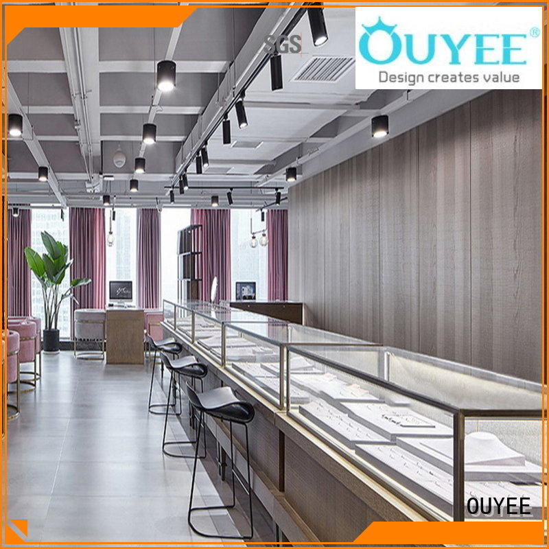 gold counter OUYEE Brand jewellery shop showcase design factory