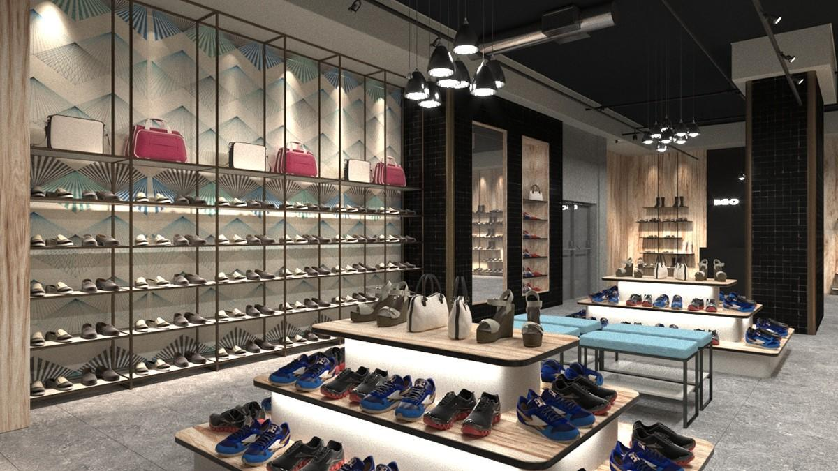 chic shoe display wall commercial for chain shop OUYEE-2