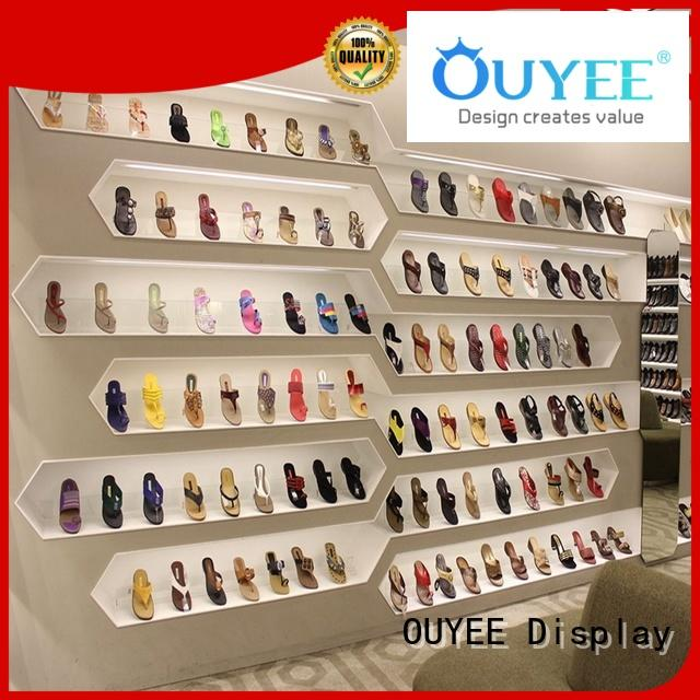 OUYEE Brand showcase wooden shoe rack designs shelf factory