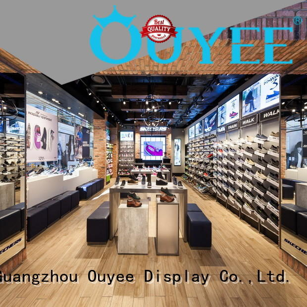 OUYEE funky wooden shoe rack designs eye-catching for store