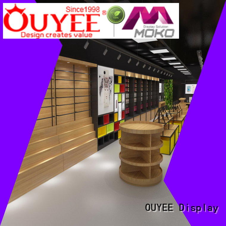 OUYEE top selling phone store display plywood for electronics