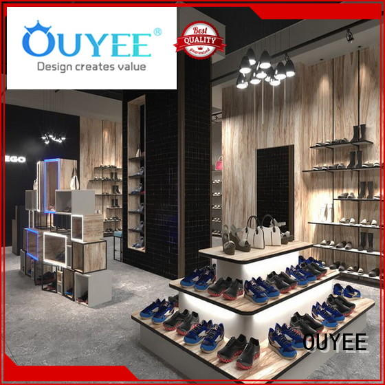 chic shoe display wall commercial for chain shop OUYEE
