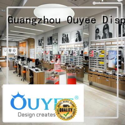 counter Custom shelves glasses optical displays OUYEE wooden