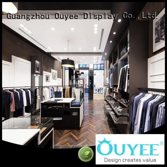 menswear interior name OUYEE Brand clothing shelves