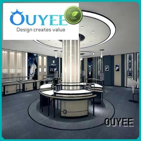 jewellery shop showcase design tower gold jewellery shop design store OUYEE Brand