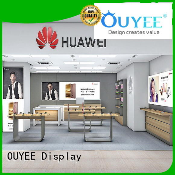 cell phone display table wooden for decoration OUYEE
