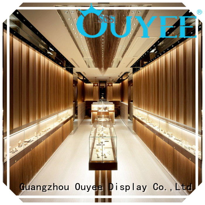 display wooden jewellery OUYEE Brand jewellery shop showcase design factory jewelry