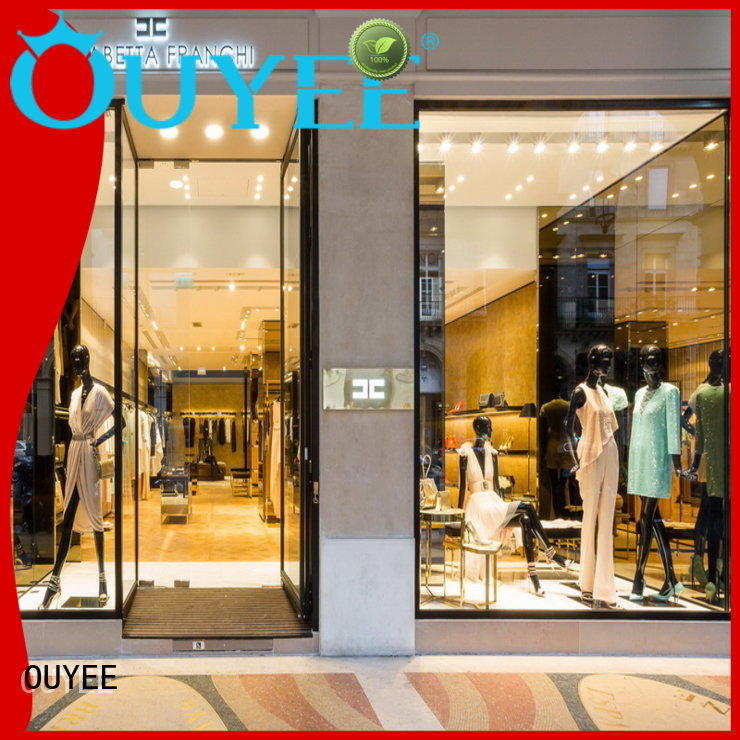 OUYEE free delivery corner display case cheapest price for garment display