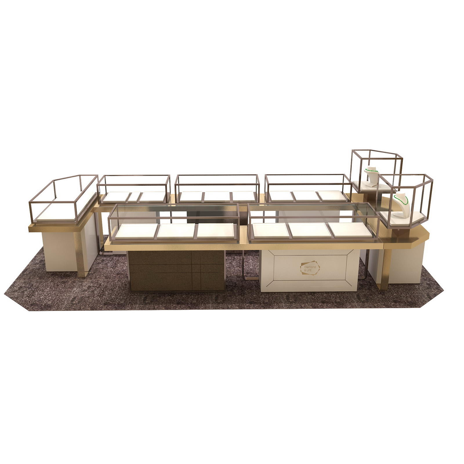 retail jewellery display cabinets commercial for store OUYEE-3