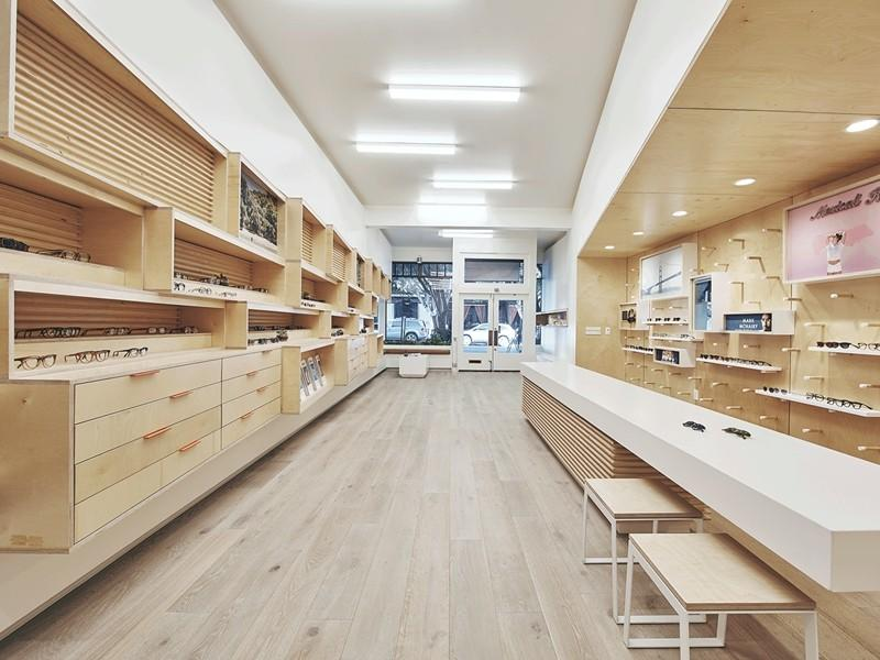 wooden optical shop interior design at discount for store
