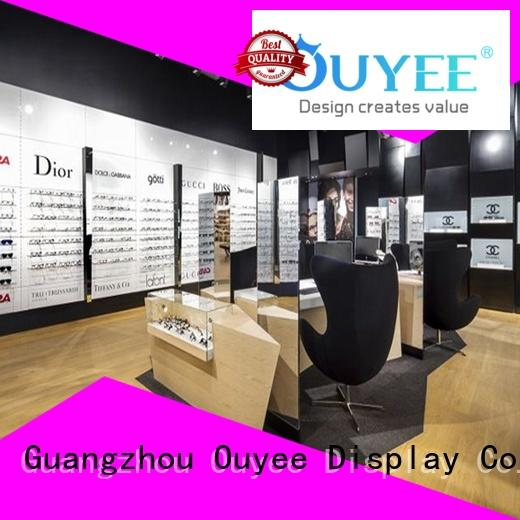 corner glass display case wooden for supplier OUYEE