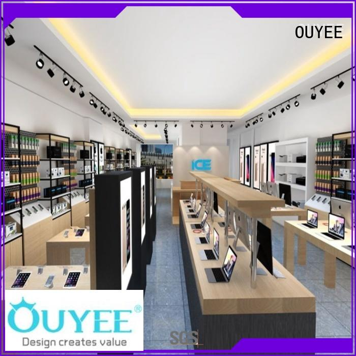 OUYEE wooden mobile accessories shop design fast delivery for store
